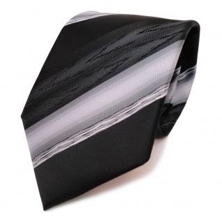 TigerTie Designer Krawatte schwarz anthrazit grau silber gestreift - Binder Tie