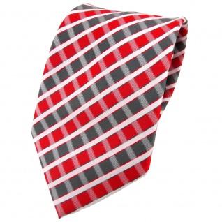 TigerTie Designer Krawatte in rot grau silber weiss gestreift - Tie Binder