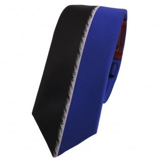Schmale Designer Krawatte blau schwarz silber gestreift - Schlips Binder Tie