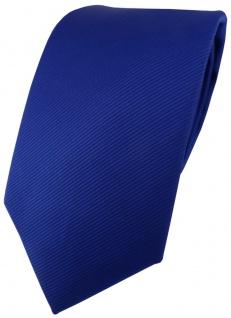 TigerTie Designer Krawatte in royal blau einfarbig Uni Rips