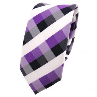 schmale TigerTie Designer Krawatte lila blau royal weiß kariert - Schlips Binder