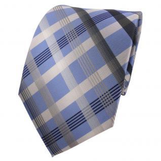 Designer Krawatte blau hellblau silber grau anthrazit kariert - Schlips Binder