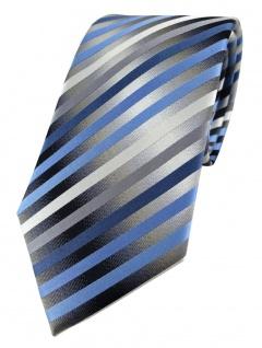 TigerTie Designer Seidenkrawatte in blau anthrazit grau silber gestreift