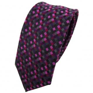 Schmale TigerTie Krawatte lila magenta rosa schwarz anthrazit grau gemustert