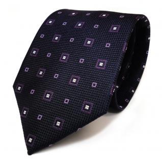 Mexx Designer Krawatte Seide Lila Flieder Silber kleine Vierecke