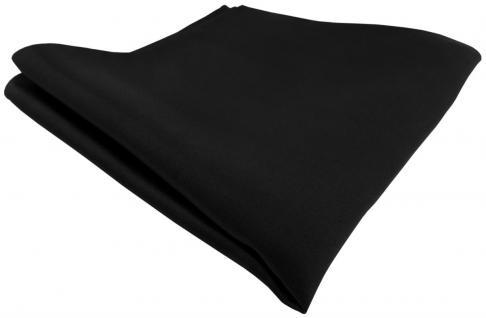 TigerTie Satin Seideneinstecktuch in schwarz einfarbig - Einstecktuch 100% Seide