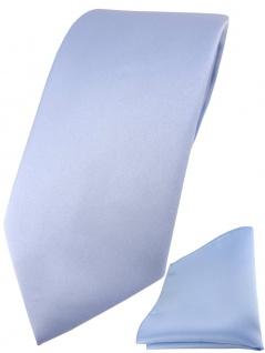 TigerTie Designer Krawatte + TigerTie Einstecktuch in hellblau einfarbig uni