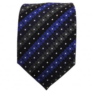 TigerTie Designer Krawatte blau schwarz anthrazit silber gestreift - Binder Tie - Vorschau 2