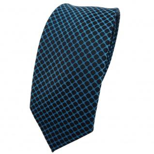 Schmale TigerTie Krawatte blau türkis schwarz gemustert - Binder Tie