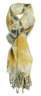 Schal in gold oliv beige gemustert mit Fransen - Gr. 180 x 45 cm