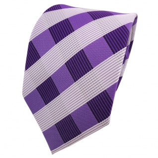 Designer Krawatte lila rotlila weiß kariert - Schlips Binder Tie