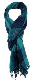TigerTie Schal in türkis blau Karomuster mit Paisley - Größe 190 x 70 cm