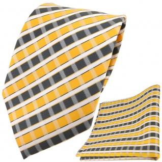 TigerTie Designer Krawatte + Einstecktuch gelb grau silber weiss gestreift