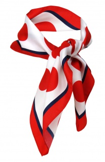 TigerTie Seiden Nickituch Satin in rot marine weiss gepunktet - 50 x 50 cm