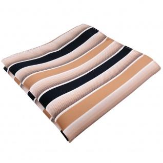 TigerTie Einstecktuch in beige braun dunkelblau weiß gestreift - 100% Polyester