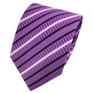 TigerTie Seidenkrawatte lila violett dunkelblau weiß gestreift - Krawatte Seide