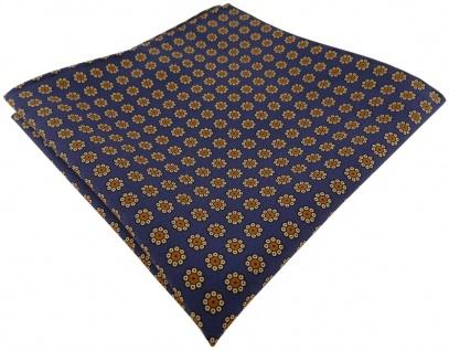 TigerTie handrolliertes Seideneinstecktuch in blau gold braun schwarz geblümt
