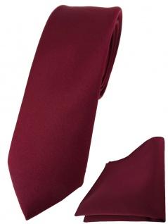schmale TigerTie Designer Krawatte + Einstecktuch in bordeaux einfarbig uni