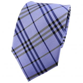 TigerTie Seidenkrawatte blau dunkelblau anthrazit kariert - Krawatte Seide