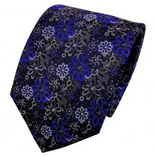 TigerTie Seidenkrawatte blau dunkelblau anthrazit gemustert - Krawatte Seide