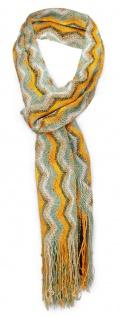 Damen Netzschal in orange türkis oliv gestreift mit Fransen - Gr. 180 x 35 cm