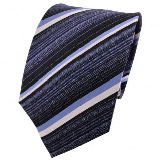 TigerTie Designer Seidenkrawatte himmelblau blau silber schwarz gestreift