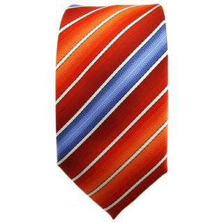 Schmale TigerTie Krawatte orange rotorange dunkelorange blau creme gestreift - Vorschau 2
