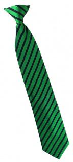 TigerTie - Service o. Security Clip Seidenkrawatte smaragdgrün schwarz gestreift