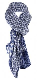 gecrashter Schal in blau marine dunkelblau grau gemustert - Größe 180 x 100 cm
