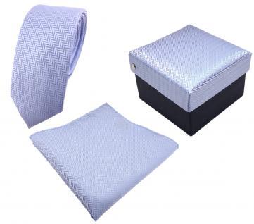 3er Set schmale TigerTie Krawatte + Einstecktuch +Geschenkbox hellblau gestreift - Vorschau