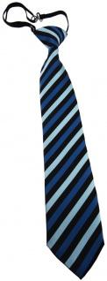 TigerTie Kinderkrawatte blau türkis schwarz gestreift - vorgebunden Gummizug
