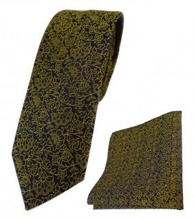 schmale TigerTie Krawatte + Einstecktuch in gelbgold schwarz florales Muster