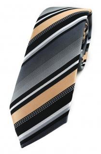 TigerTie - schmale Krawatte in lachs silber grau weiss schwarz gestreift