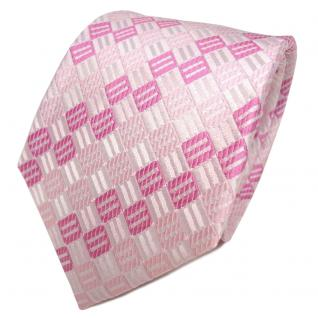 TigerTie Seidenkrawatte rosa zartrosa silber weiß gemustert - Krawatte Seide