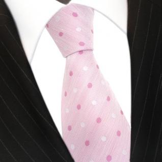 Mexx Designer Krawatte rosa zartrosa pink weiß gepunktet - Seide Leinen Tie