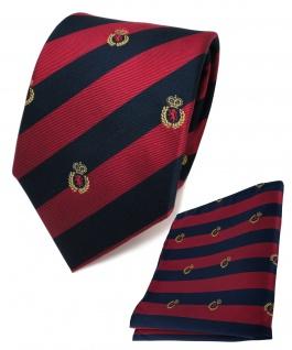TigerTie Seidenkrawatte + Stecktuch rot blau royal gold gestreift -Wappenmuster