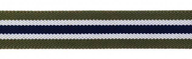TigerTie - Stretchgürtel oliv grün dunkelblau weiß gestreift - Bundweite 120 cm - Vorschau 4