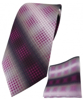 TigerTie Krawatte + Einstecktuch in violett lila silber grau schwarz kariert