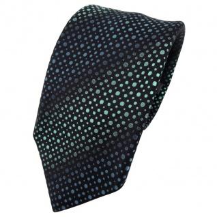 Enrico Sarto Seidenkrawatte türkis türkisblau schwarz gepunktet - Krawatte Seide