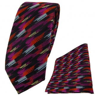 schmale TigerTie Krawatte + Einstecktuch orange lila silber schwarz gestreift - Vorschau