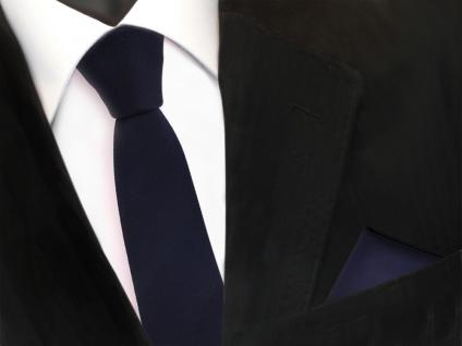 Schmale Designer TigerTie Krawatte + Einstecktuch blau dunkelblau royal Uni Rips