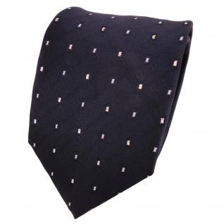 TigerTie Lurex Seidenkrawatte blau marine silber gepunktet - Krawatte Seide
