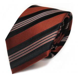 TigerTie Designer Seidenkrawatte schwarz braun silber gestreift - Krawatte Seide
