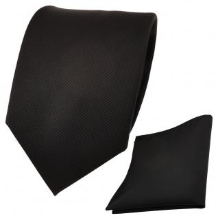 Designer TigerTie Krawatte + Einstecktuch schwarz Uni Rips - Binder Tuch