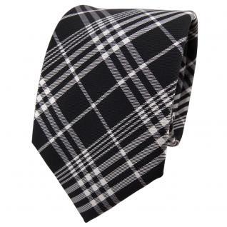 TigerTie Seidenkrawatte schwarz anthrazit silber grau kariert - Krawatte Seide