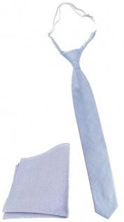 TigerTie Security Sicherheits Krawatte Pique + Einstecktuch blau-weiss gemustert