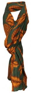 gecrashter Schal in orange oliv mit Blättermotiven - Tuch Gr. 180 x 100 cm