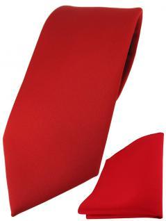 TigerTie Designer Krawatte + TigerTie Einstecktuch in rot einfarbig uni