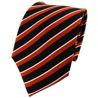 TigerTie Seidenkrawatte orange dunkelorange schwarz silber gestreift - Krawatte