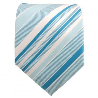 TigerTie Designer Krawatte mint türkis pastelltürkis silber gestreift - Binder - Vorschau 2